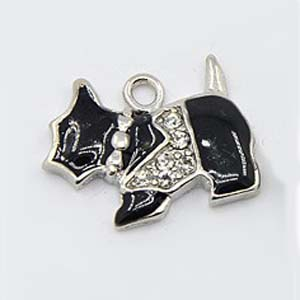CH44-2 enamel scottie dog charm with rhinestones - black