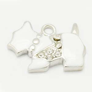 CH44 enamel scottie dog charm with rhinestones
