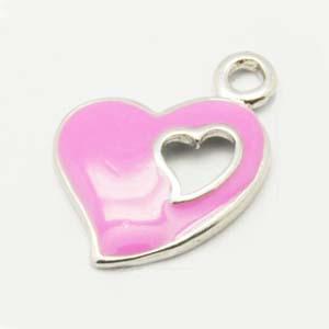 CH49 enamel heart charm - pink