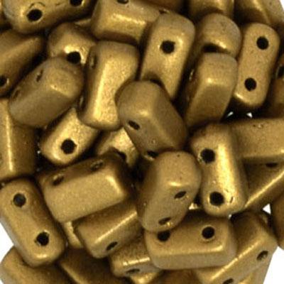 CMBK-244 CzechMates brick beads - golden rod matt metallic
