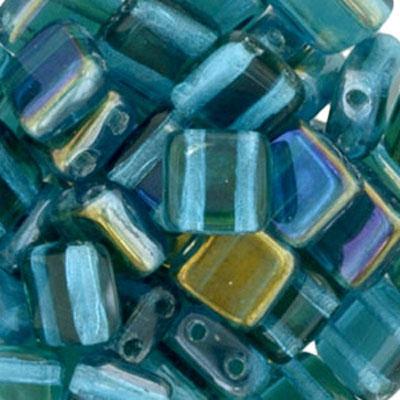 CMTL-167 CzechMates tile beads - dark aqua clarit