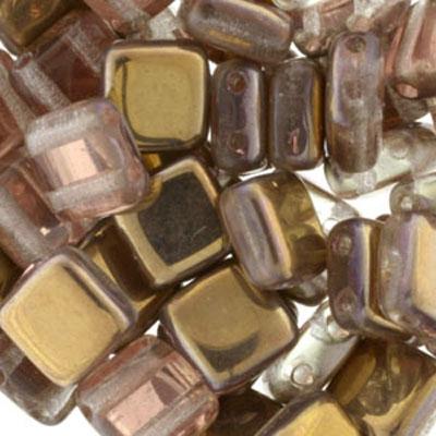 CMTL-28 CzechMates tile beads - crystal Capri gold