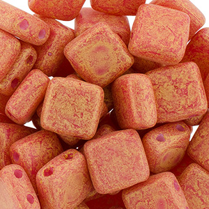 CMTL-592 CzechMates tile beads - Pacifica Strawberry