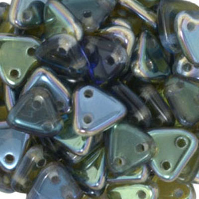 CMTR-168 CzechMates triangle beads - sapphire celsian