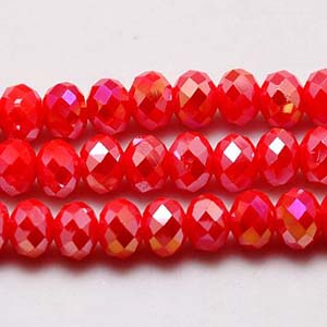 CRB1-116AB medium puffy rondelle - red opal AB