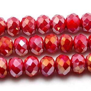 CRB1-126AB medium puffy rondelle - dark red opal AB