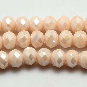 CRB1-131L medium puffy rondelle - pale peach opal full lustre
