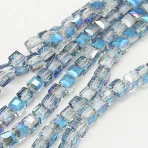 CRB17-13 crystal faceted cube - sky blue half coated