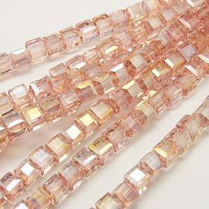 CRB18-19 crystal faceted cube - rose