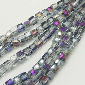 CRB18-14 crystal faceted cube - heliotrope half coated