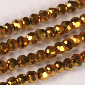 CRB19 Metallic round facetted crystal beads- metallic colours