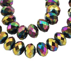 CRB2-14M  puffy rondelle - multi-coloured metallic