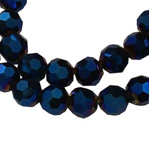 CRB22-16 crystal facetted round beads - blue iris