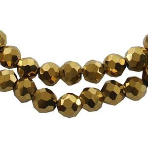 CRB22-59 crystal facetted round beads - gold fully coated