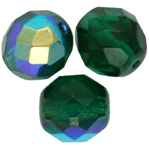 GB18 17ab - fire-polish beads - emerald ab
