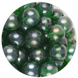 GB240L-10pressed lustre glass beads - emerald