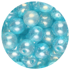 GB240L-12 pressed lustre glass beads - aquamarine