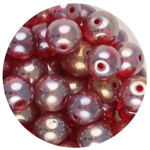 GB240L-3 pressed lustre glass beads - red