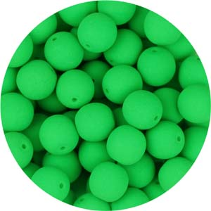GB3-91 round pressed glass beads - neon lime