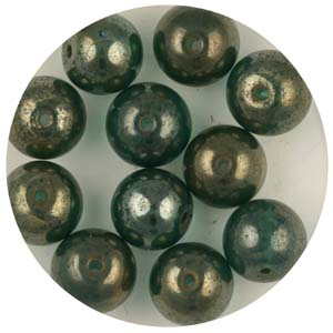 GB240C-10 gold coated transparent round beads - green turquoise