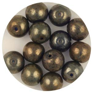 GB240C-11 - gold coated transparent round beads - slate