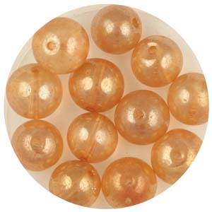 GB240C-2 gold coated transparent round beads - pale gold