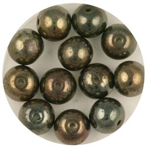 GB240C-4 gold coated transparent round beads - green gold