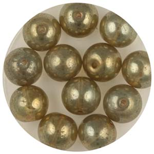 GB240C-6 gold coated transparent round beads - light bronze