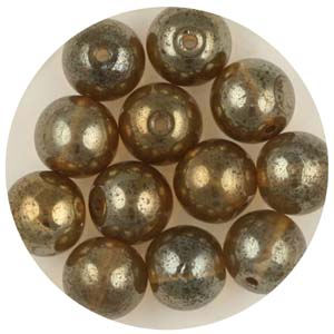 GB240C-7 gold coated transparent round beads - bronze