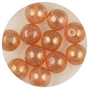 GB240C-8&nbsp;gold coated transparent round beads - peach