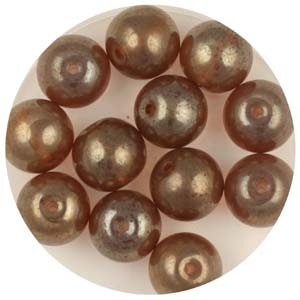 GB240C-9 gold coated transparent round beads - colorado topaz