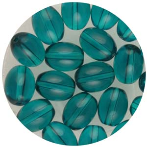 GB244T std cols oval pressed transparent glass beads - standard colours