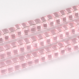 GB245T 2-3 rondelle pressed transparent glass beads - red & pink