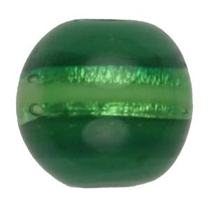 GB270-3 Indian glass lamp bead, silver foiled round - green