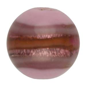 GB270-5 Indian glass lamp bead, silver foiled round - pink