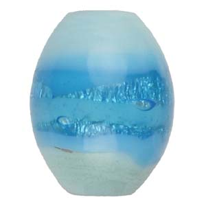 GB271-2 Indian glass lamp bead, silver foiled oval - aqua