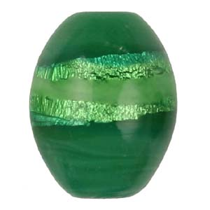 GB271-3Indian glass lamp bead, silver foiled oval - green