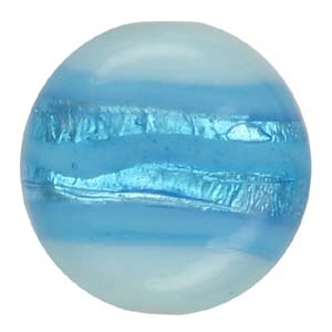GB272-2 Indian glass lamp bead, silver foiled flat round - aqua
