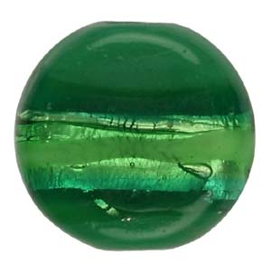 GB272-3 Indian glass lamp bead, silver foiled flat round - green