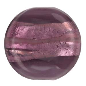 GB272-4 Indian glass lamp bead, silver foiled flat round - purple
