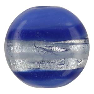 GB272-6 Indian glass lamp bead, silver foiled flat round - blue