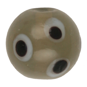 GB276-6 Indian glass lamp bead, spotted round - grey
