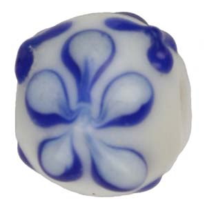 GB279-1Indian glass lamp bead, round flower - blue