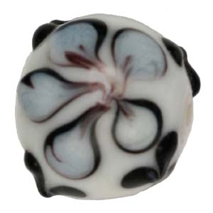 GB279-2 Indian glass lamp bead, round flower - white