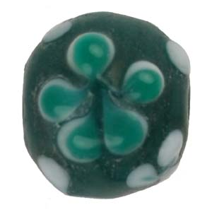 GB279-3 Indian glass lamp bead, round flower - green turquoise