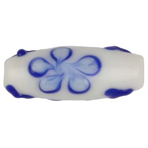 GB280-1Indian glass lamp bead, oval flower - blue