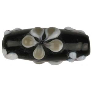 GB280-4 Indian glass lamp bead, oval flower - black