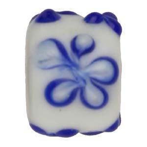 GB281-1Indian glass lamp bead, barrel flower - blue