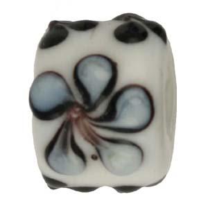 GB281-2Indian glass lamp bead, barrel flower - white