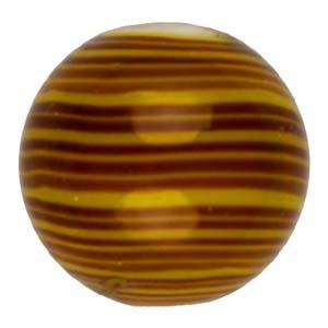 GB282-3Indian glass lamp bead, stripey round - topaz